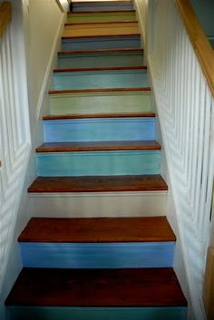 colorful stairs! my house is going to scream cozy and fun. not fancy and frigid.