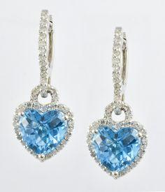 14 Kt White Gold & Topaz Ladies' Heart Earrings