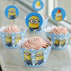 Fatflyshop - 24 Pieces/lot Despicable Me Minions Cupcake Wrappers Cake Toppers Picks Decoration Kids Birthday Party Favors Supplies #minion #minions #minionstuff