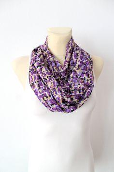Printed Infinity Scarf - Purple Geometric Scarf - Women Circle Scarf - Fashion Shawl - Unique Fabric Scarf - Boho Scarf - Accessories
