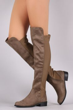 Suede Stretchy Fit Elastane Over-The-Knee Boots