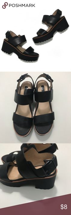 Topshop Platform Sandals • Black platform sandals with buckle closure. The size is a 6 but these fit closer to a 7. These show some minor signs of wear which can be seen in the photos. Topshop Shoes Sandals