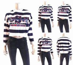 Trends Crop Womens size S Cotton Banded-Hem Crew Sweatshirt Navy White Sale CHOP | eBay