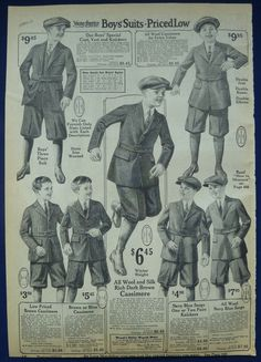 Boys Clothing Original Vintage Antique 1920's Wards Ads Coats Suits Playwear | eBay