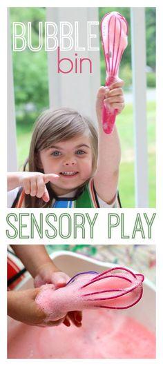 Bubble whisking with color!! Fun preschool sensory activity.