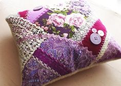 I ❤ crazy quilting & embroidery . . . Crazy Quilt Pillow ~By Harriet, Emenow
