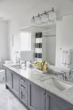 Master bath remodel - grey cabinets with carrera marble. Accents: yellow or navy? Grey Bathroom Cabinets, Grey Cabinets, Bathroom Renos, Kitchen Cabinets, Bathroom Remodeling, Bathroom Double Vanity, Bath Cabinets, Remodeling Ideas, Kitchen Cupboard