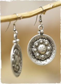 Pewter Starry Disk Earrings