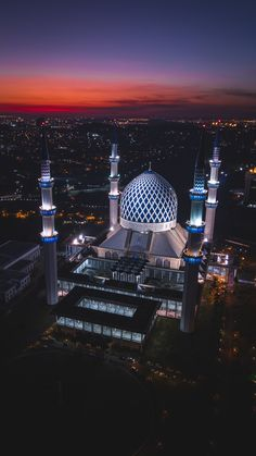 white and blue dome concrete building with during night time Sultan Salahuddin Abdul Aziz Mosque Islamic Wallpaper Iphone, Mecca Wallpaper, Quran Wallpaper, City Wallpaper, Wallpaper Backgrounds, Good Vibes Wallpaper, Cartoon Wallpaper, Photos Islamiques, Wallpaper Ramadhan