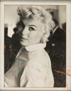 Marilyn in New York, c., 1956 Inscribed by Marilyn to Arthur in the glass: 'I know when I am not there for you.' MM