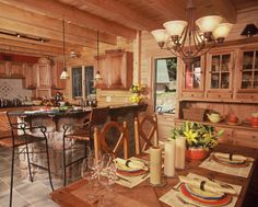 Love The Rock Face Around The Bar In This Ward Cedar Log Home Kitchen. See