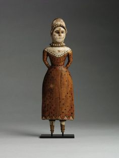 Rare Early Toy Doll - Hand Carved and Painted Wood, European, c.1780  (not American...but very nice).