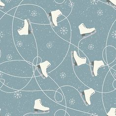 Ice skating boots, snowflakes and ice trails on a snowy blue grey background available on tshirts, scarf, sticker, wall art and other gifts
