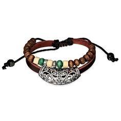 Bali houten kralen armband leer L779