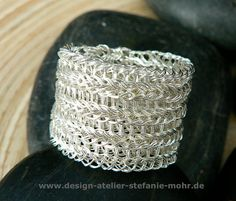 wire crochet ring - bi-color - double knit  you have the choice between two width: 1,2 cm (1cm) or 1,8 cm (2cm) and different color/wire