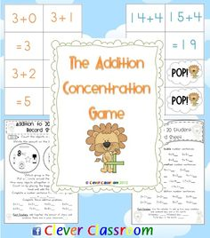 The addition concentration game focuses on numbers 1-20, using the counting on strategy as its main focus. Included in your resource is a cover page, guide page, game cards (6 cards to a page) and two different student record sheets for the various levels in your classroom. Your download includes 9 sets, all color coded, dealing with adding numbers from 2-9 for example the first set deals with adding 2; 2+0, 2+1, 2+2, 3+2, 4+2, 5+2,