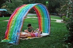 Weave a rainbow using pvc pipe, chicken wire, and ribbons!