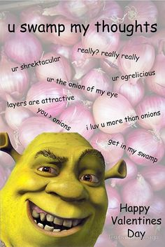 Meme Valentines Cards, Valentines Pick Up Lines, Funny Valentine Memes, Valentine Wishes, Shrek Memes, Shrek Quotes, Cute Love Memes, Out Of Touch, Wholesome Memes
