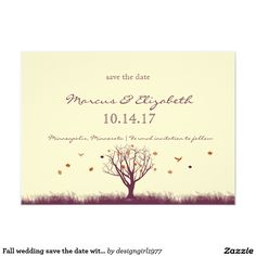 Shop Fall wedding save the date with photo back created by Personalize it with photos & text or purchase as is! Fall Wedding Invitations, Wedding Invitation Templates, November Wedding, Menu Cards, Wedding Save The Dates, Rehearsal Dinners, Rsvp, Create Your Own, Bridal Shower
