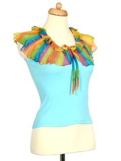 Upcycled Light Blue Tank Top With Rainbow Ruffle Collar