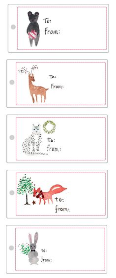 Six tags featuring lovely watercolor animals. | 24 Adorable Free Gift ...