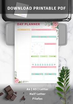 Day Planner with Blossom Roses Pattern Day Planner Template, Printable Day Planner, Cute Daily Planner, Daily Goals, Day Planners, Filofax, Appointments, Grateful, Menu