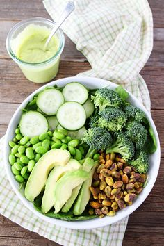 Get Your Greens Salad Recipe on twopeasandtheirpod.com This healthy salad is loaded with all things green! Serve with Creamy Avocado Dressing!