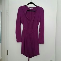 Diane von Furstenberg purple silk dress Silk. Tie waist. Radiant orchid color. Diane von Furstenberg Dresses