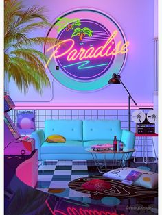 'Paradise Wave' Poster by dennybusyet - - Aesthetic Nostalgia, A Retro Design That inspired by synthwave , retrowave and vaporwave style. Dreamlike Artwork by dennybusyet Aesthetic Space, Aesthetic Bedroom, Aesthetic Collage, Purple Aesthetic, Retro Aesthetic, Aesthetic Outfit, Aesthetic Painting, Aesthetic Gif, Travel Aesthetic