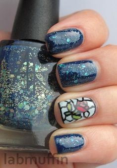 Disney Beauty and the Beast inspired nails