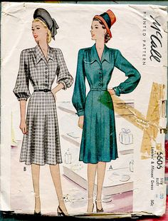 1940s 40s McCall's 6606 vintage sewing pattern Misses classic day dress size 20 Bust 38 B38
