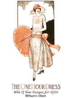 1922 One Hour Dress ePattern $4.50 AT vintagedancer.com  An easy sewing pattern for a simple early 1920s style dress. ALL sizes.