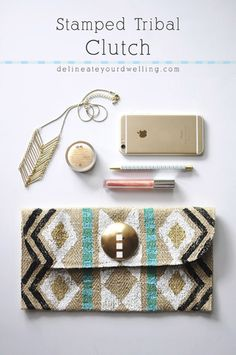 Stamped DIY Tribal Clutch