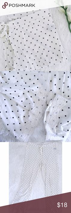 NWOT🔸aerie • polka for pj pants •Aerie •NWOT •white w/polka dots •lace on leg hems •really soft, but semi sheer  •Size: small  •Please see all pics, read description, and ask questions before purchasing   •No Trades• •15% off 2+ Bundle• aerie Intimates & Sleepwear Pajamas
