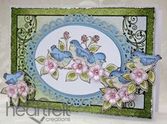 Heartfelt Creations | Pink Blooms And Blue Birds