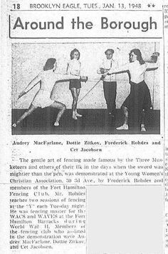 Maître d' Armes Frederick Rohde's and students giving a demonstration at the YWCA. Fencing Sport, Equestrian, Fence, Students, Memes, Classic, Sports, Movie Posters, Art
