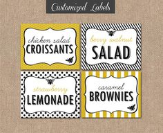 PRINTABLE FOOD LABELS  Mom to Bee Baby Shower by kimberlyjdesign, $6.00