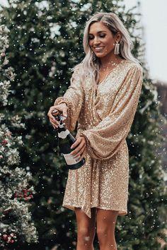 Spotlight Shine Sequin Wrap Dress in Gold Christmas Dress Women, Holiday Dresses, Fall Dresses, Short Dresses, Wrap Dress, Dress Up, Nye Outfits, Sequence Dress, Gold Sequin Dress