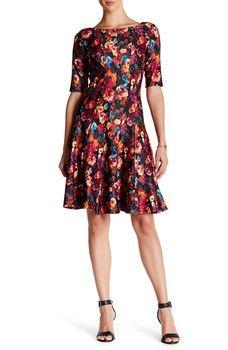 Taylor - Multi-Seamed Floral Fit & Flare Scuba Dress