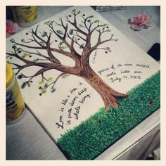 #diy #wedding idea. Paint a tree on a canvas with bare branches, have leaf colored stamps for your guests to leave their thumbprints on the tree and sign it so you have a guest book that you'll actually see all the time | Trendvee