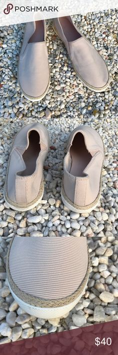 J/Slides NYC Slip-On Style J/Slides Slip-On Fabric Shoes. Round toe. Stretch insets. Braided jute midsole. Blush color. Great condition. Thanks for shopping my closet J/Slides Shoes Sneakers