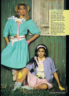 Glossy Sheen: A Taste for the Tropics - Dolly July 1983 80s And 90s Fashion, Retro Fashion, Vintage Fashion, Fashion Outfits, Fashion Trends, Fashion Ideas, Women's Fashion, Look 80s, Valley Girls