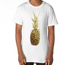 'Golden pineapple' Long T-Shirt by Sonia Vinograd Guidotti Chiffon Tops, V Neck T Shirt, Pineapple, Classic T Shirts, Stuff To Buy, Shopping, Long T Shirts, Pinecone, Pine Apple