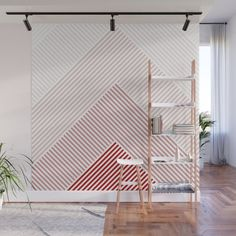 Shades of Red Abstract geometric pattern Wall Mural Tape Wall Art, Washi Tape Wall, Bedroom Wall Designs, Accent Wall Bedroom, Paint Accent Walls, Accent Wall Designs, Geometric Wall Paint, Wall Patterns, Painting Patterns On Walls
