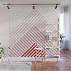 Shades of Red Abstract geometric pattern Wall Mural Tape Wall Art, Washi Tape Wall, Tape Art, Bedroom Wall Designs, Accent Wall Bedroom, Geometric Wall Paint, Diy Wall Painting, Creative Wall Painting, Art Mur