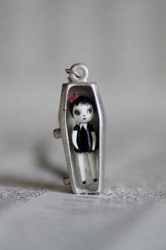 Emily  miniature stone clay vampire art doll in teeny tiny coffin by mabgraves