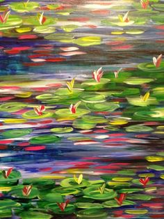 Tracy's colorful lilies at The Art of Wine Paint 'n Sip.