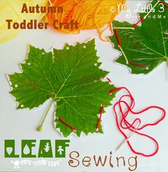 Leaf Sewing is a pretty Fall craft for kids that develops fine motor skills and hand-eye co-ordination.