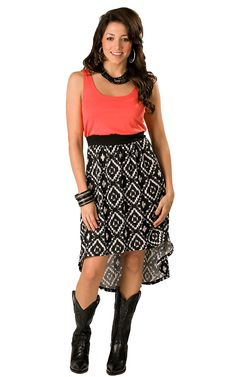 Wrangler® Ladies Coral with Black and White Ikat Print Hi-Lo Sleeveless Tank Dress $50 size small