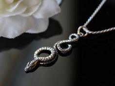 Coiled Snake Sterling Silver Pendant Necklace Oxidized by ByGerene